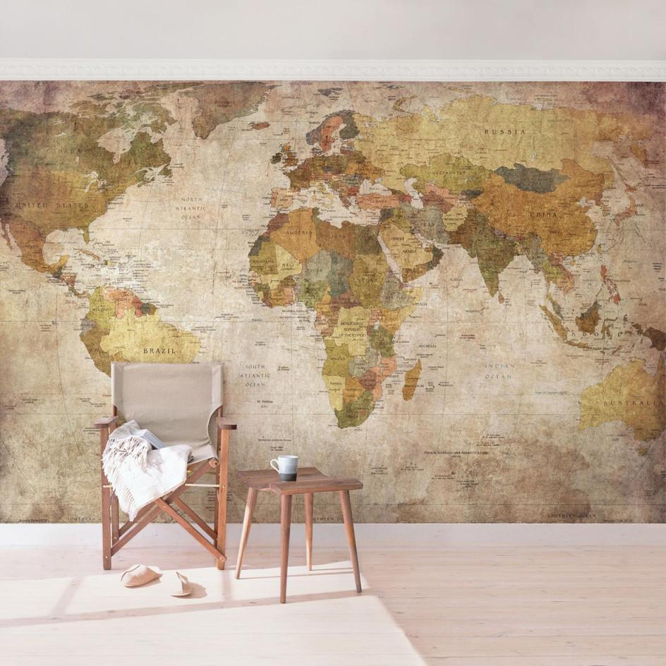 Wohnzimmer Tapete Mit Weltkarte von Tapeten Wohnzimmer Vintage Photo