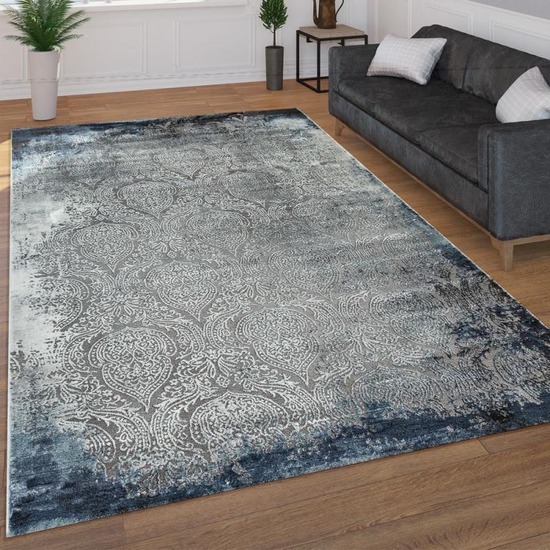 Wohnzimmer Teppich 3D Look Orientalisches Muster von Wohnzimmer Teppich Blau Photo