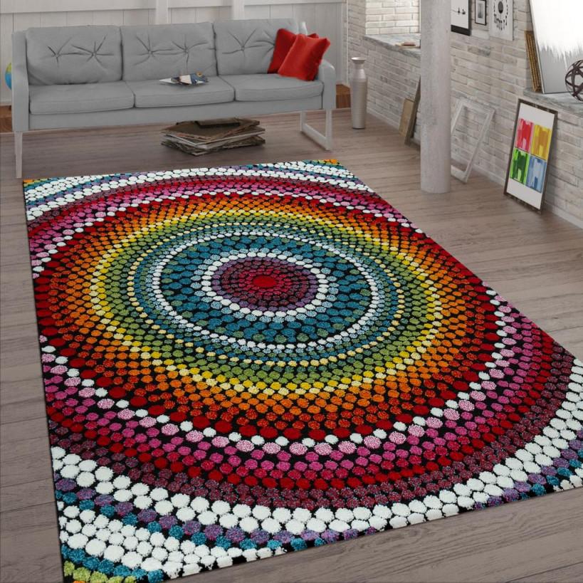 Wohnzimmer Teppich Bunt Kurzflor Retro Muster Abstraktes Design Boho Stil  3D von Teppich Wohnzimmer Bunt Bild