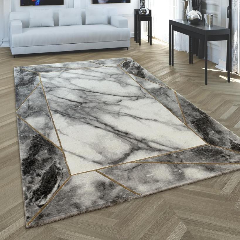 Wohnzimmer Teppich Grau Gold 3D Bordüre Marmor Muster Strapazierfähig  Kurzflor von Strapazierfähiger Teppich Wohnzimmer Photo