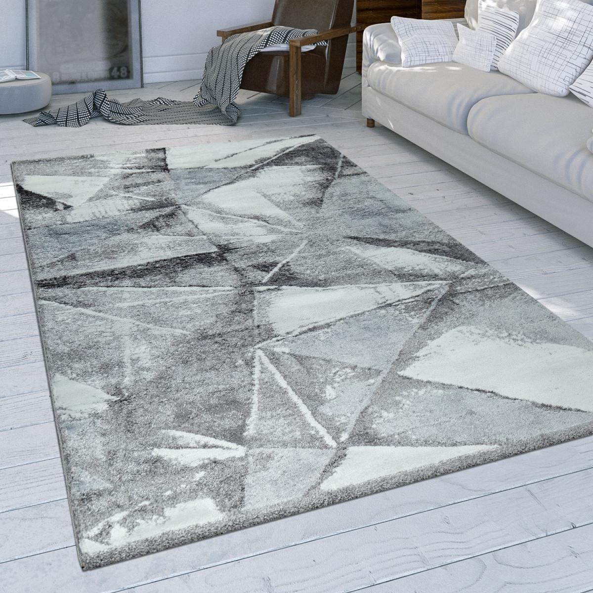 Wohnzimmer Teppich Grau Used Design Dreieck Muster Strapazierfähig Kurzflor von Strapazierfähiger Teppich Wohnzimmer Photo