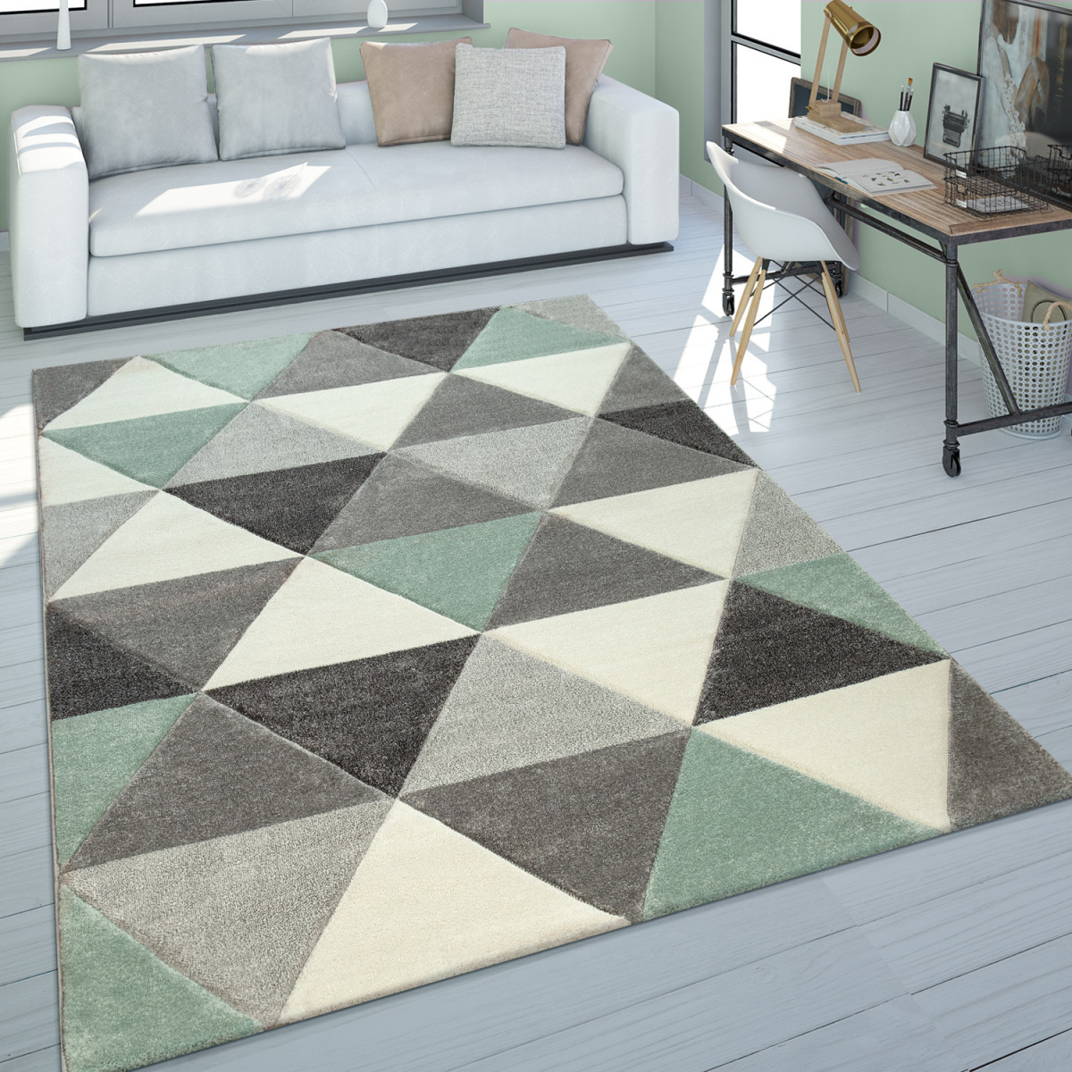 Wohnzimmer Teppich Grün Grau Pastellfarben Kurzflor Retro Design Dreieck  Muster von Teppich Wohnzimmer Grün Photo