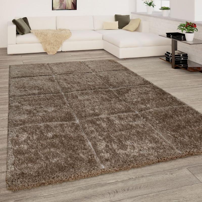 Wohnzimmer Teppich Hochflor Shaggy 3D Karo Muster von Teppich Wohnzimmer Hochflor Bild
