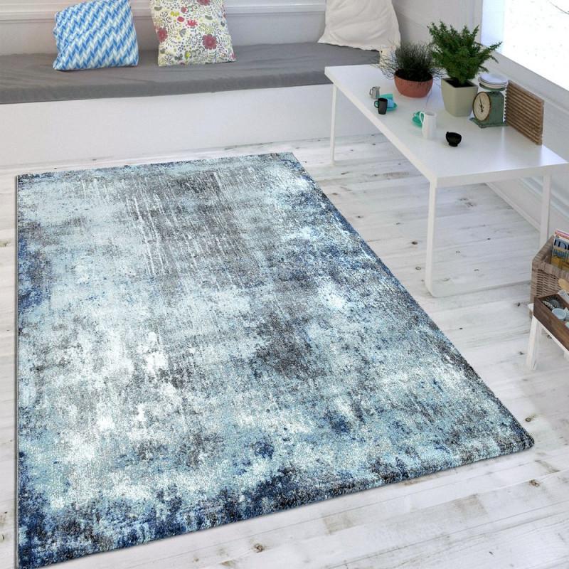Wohnzimmer Teppich Indigo Blau Trend Modern Maritimer Stil Shabby Chic  Design Grösse200X290 Cm von Blau Teppich Wohnzimmer Photo