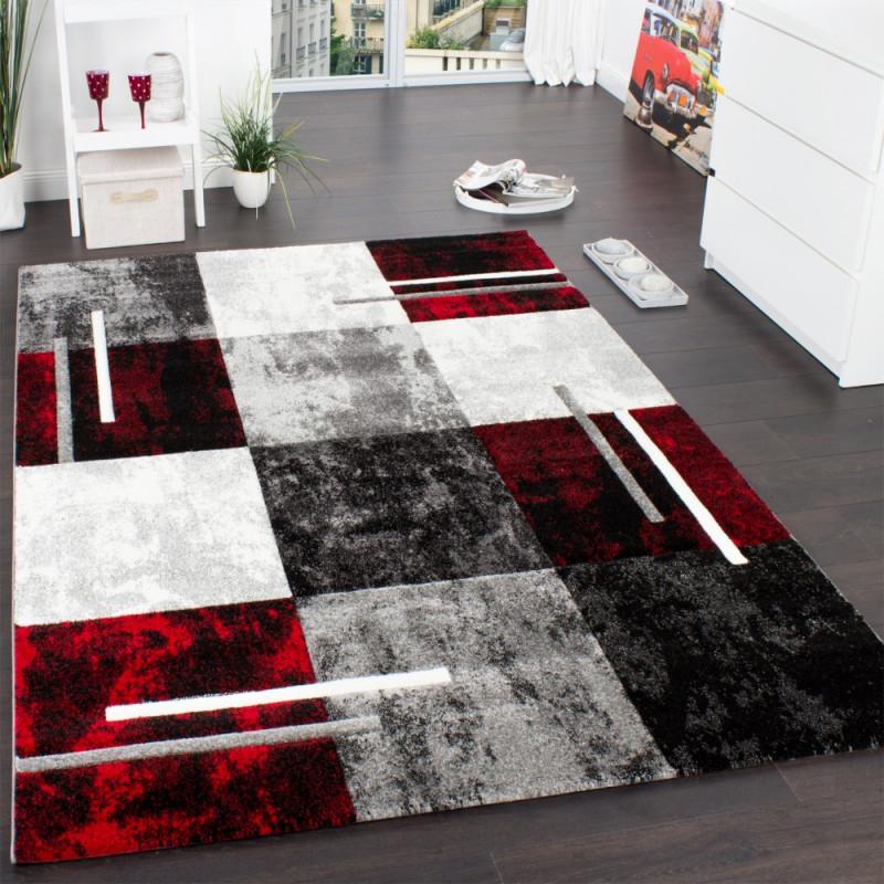 Wohnzimmer Teppich Modern 3D Karo Muster von Bilder Wohnzimmer Rot Grau Bild