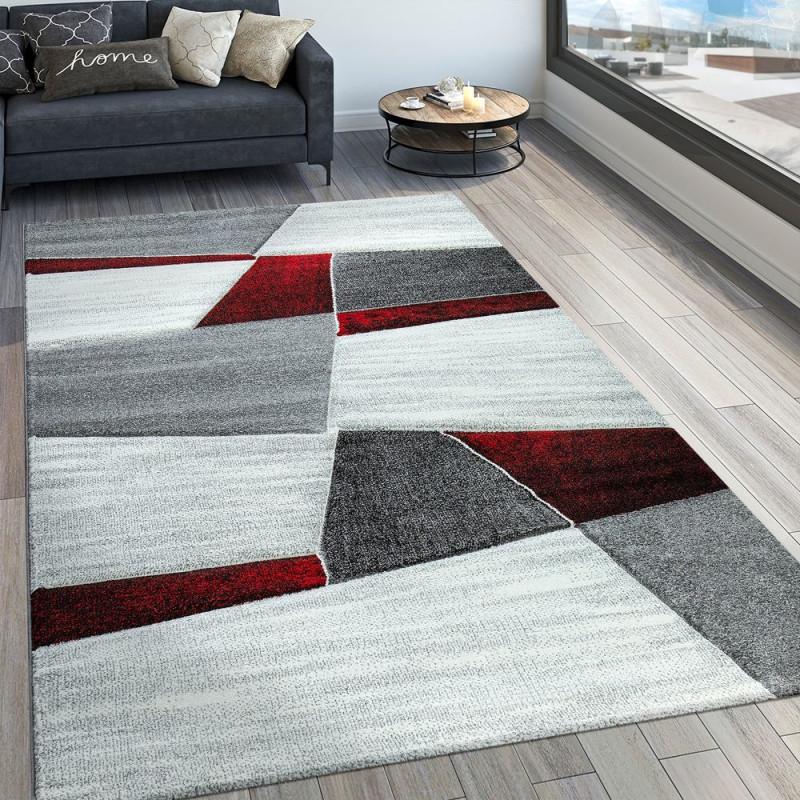 Wohnzimmer Teppich Modern 3D Muster Kurzflor von Teppich Wohnzimmer Rot Bild