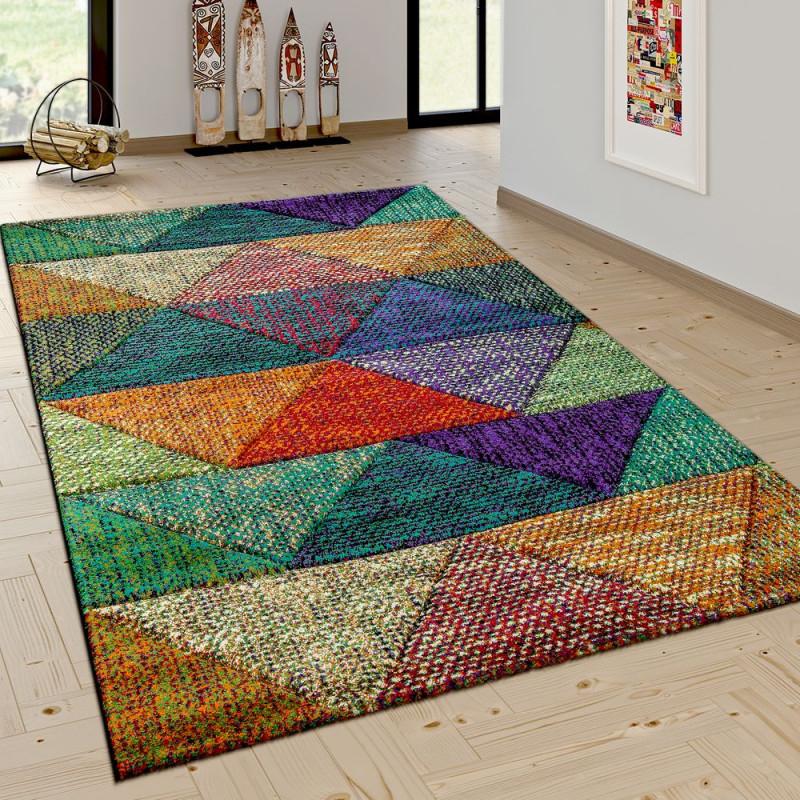 Wohnzimmer Teppich Rauten Mustern Trend Design von Wohnzimmer Teppich Bunt Photo