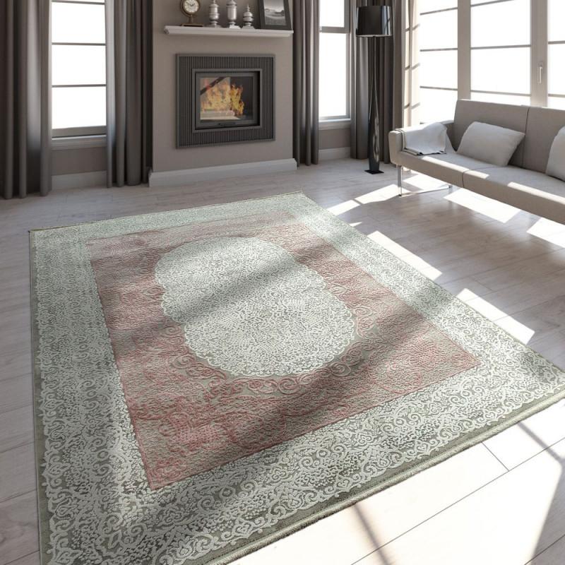 Wohnzimmer Teppich Vintage Fransen 3D Design von Wohnzimmer Teppich Grau Rosa Bild
