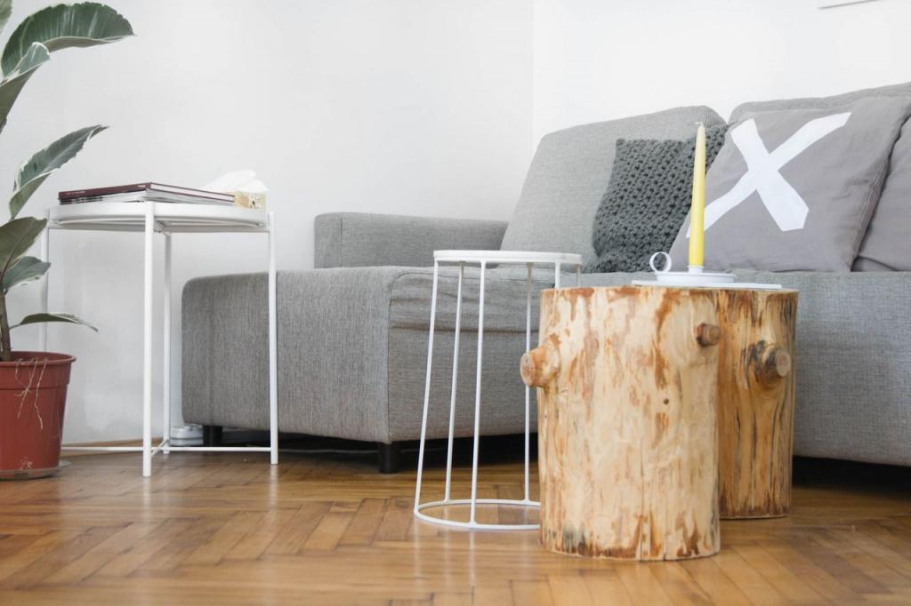 Wohnzimmer Update  Couchtischgruppe Und Wandgestaltung von Baumstamm Deko Wohnzimmer Photo