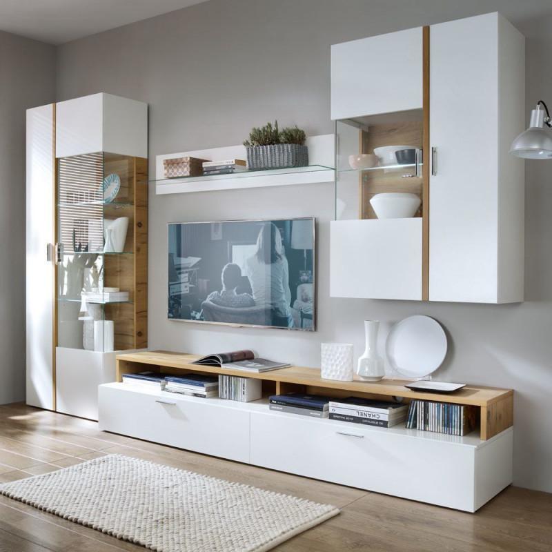 Wohnzimmer Wohnwand In Weiß Eiche Furnier (4Teilig von Wohnwand Gestalten Wohnzimmer Photo
