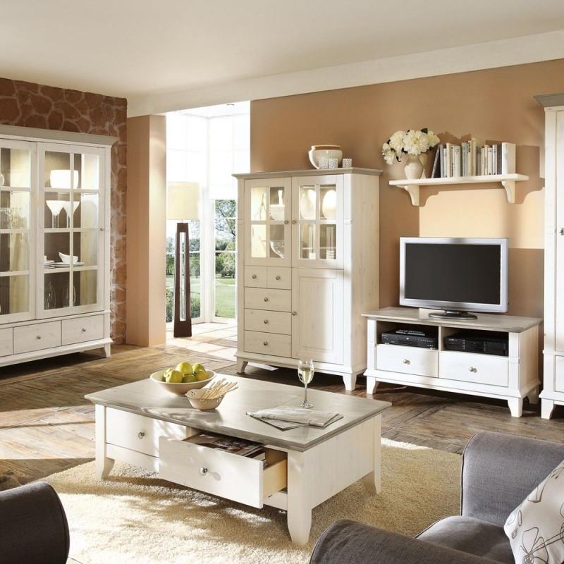 Wohnzimmerschrank Kreta Im Landhausstil Kiefer  Wohnen von Wohnzimmer Landhausstil Einrichten Photo