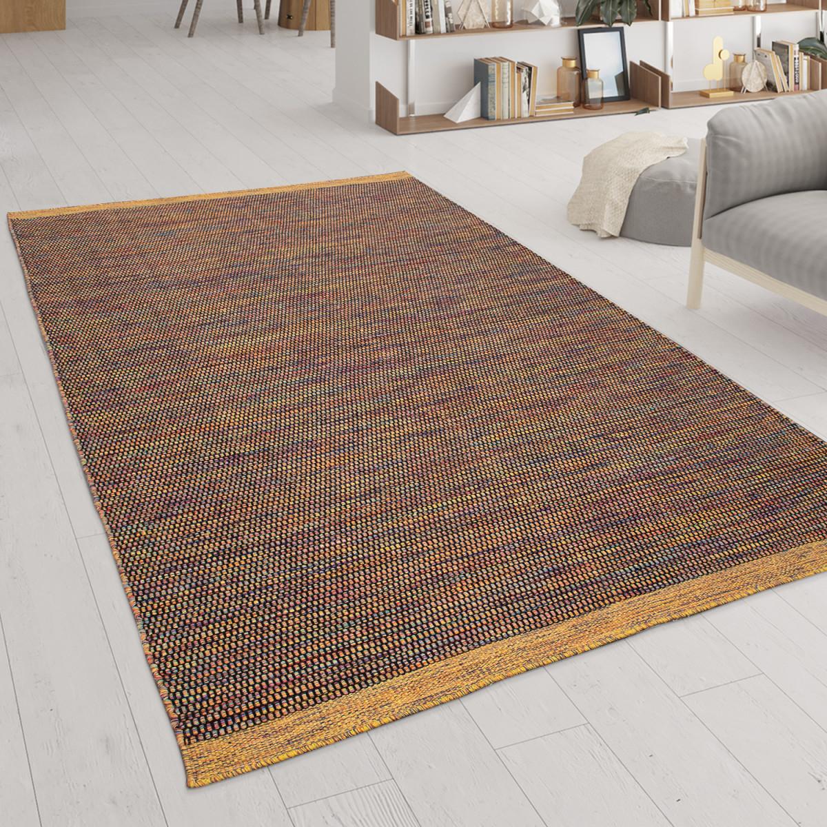 Wohnzimmerteppich Aus Wolle Und Baumwolle Handgewebtes Flachgewebe In  Bunt von Teppich Wohnzimmer Wolle Photo