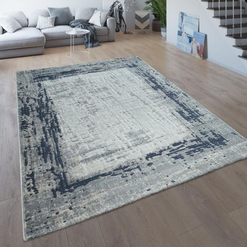 Wohnzimmerteppich Bordüre Meliert Blau Grau von Teppich Pflegeleicht Wohnzimmer Bild
