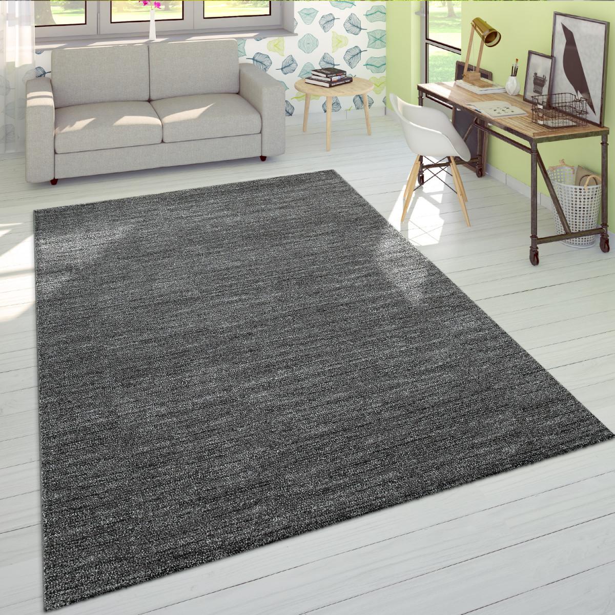 Wohnzimmerteppich Einfarbiger Kurzflor Mit Veloursgewebe In Meliertem  Grau von Wohnzimmer Teppich 140X200 Bild