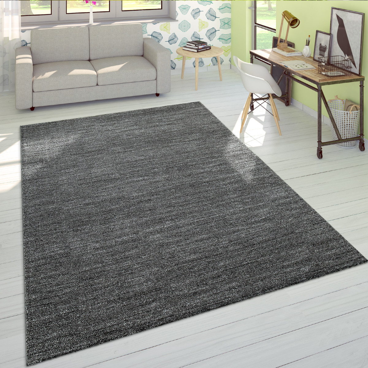 Wohnzimmerteppich Einfarbiger Kurzflor Mit Veloursgewebe In Meliertem  Grau von Wohnzimmer Teppich Kurzflor Photo