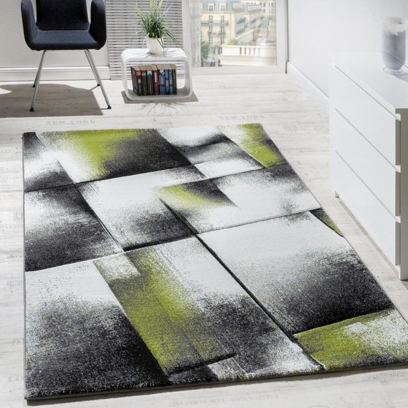 Wohnzimmerteppich Farbverlauf Dreieckdesign von Teppich Grün Wohnzimmer Bild