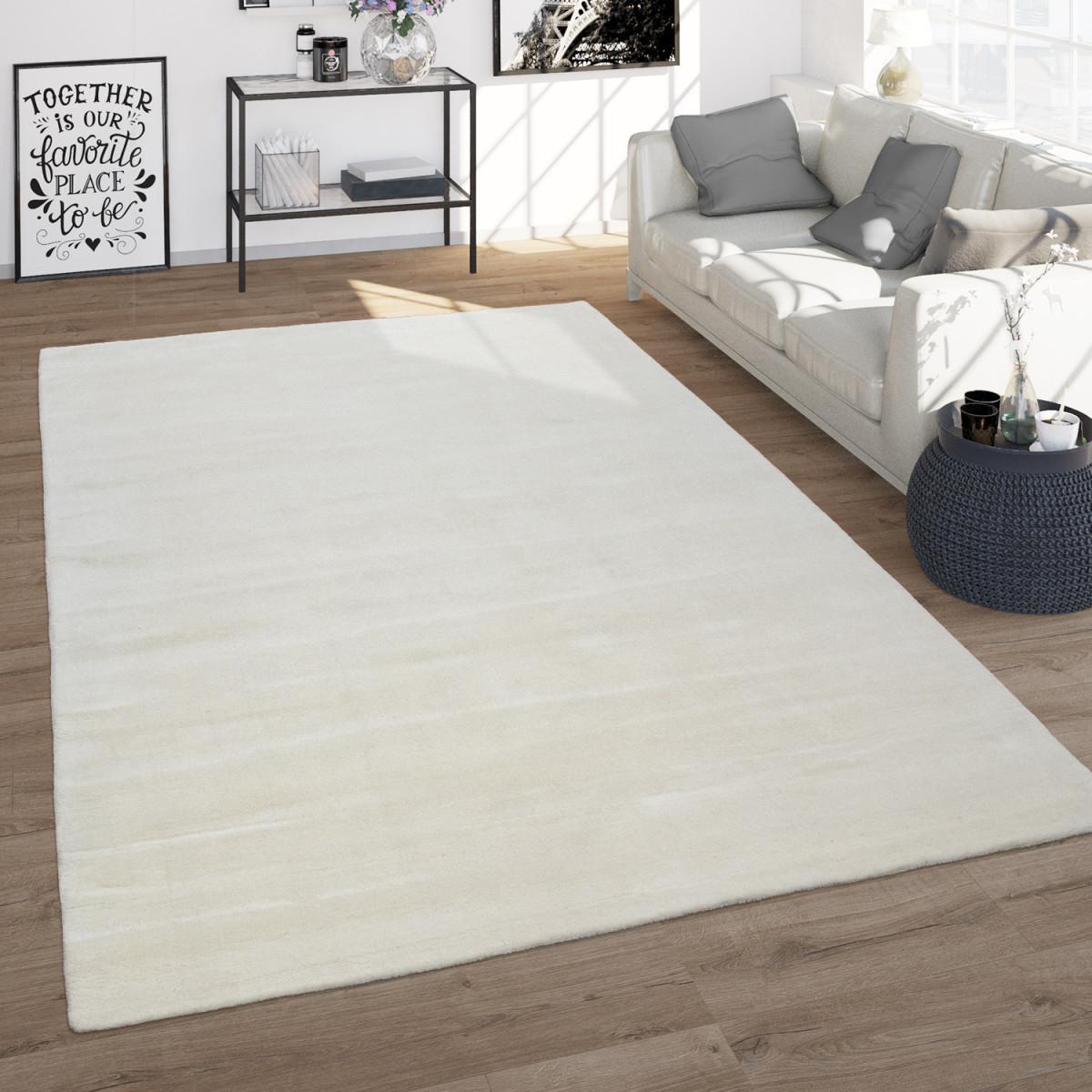 Wohnzimmerteppich Kurzflorteppich Aus Wolle Handgewebt Einfarbig In  Weiß von Wohnzimmer Teppich Weiß Bild