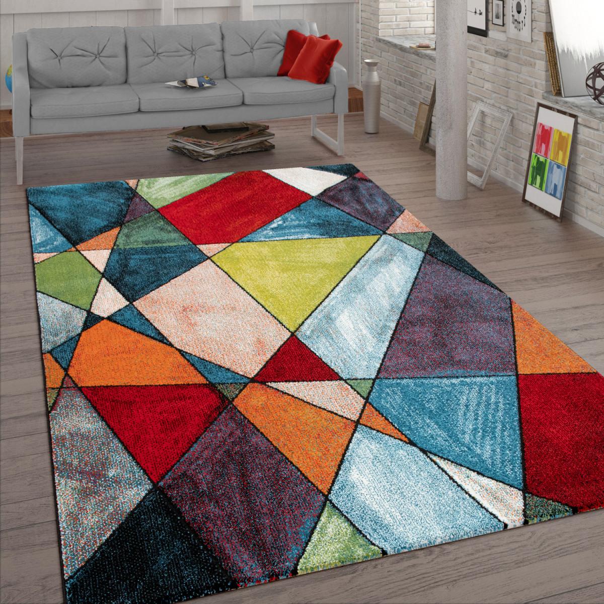 Wohnzimmerteppich Kurzflorteppich Mit Modernem 3Ddesign In Bunt von Teppich Wohnzimmer Bunt Bild