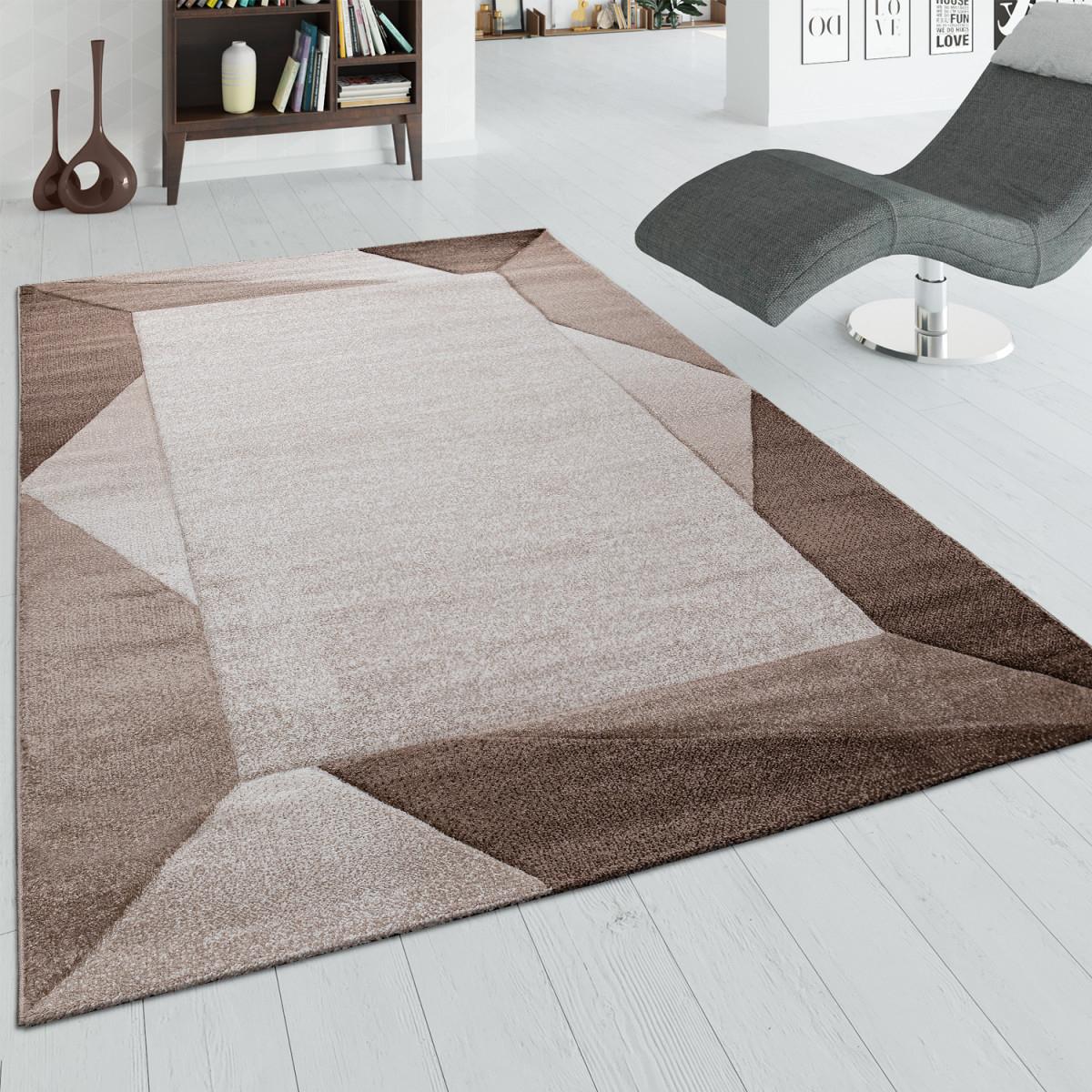 Wohnzimmerteppich Mit Bordüre Und 3Deffekt Kurzflorteppich In Beige  Braun von Wohnzimmer Teppich Braun Beige Photo