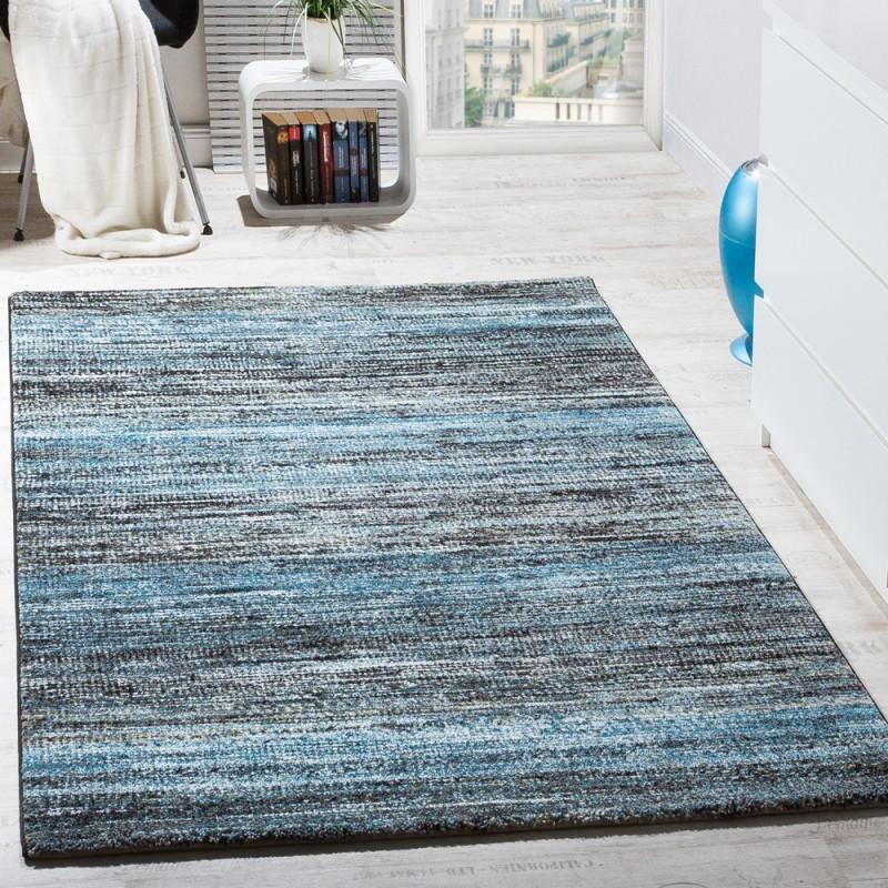 Wohnzimmerteppich Modern Meliert von Blau Teppich Wohnzimmer Bild