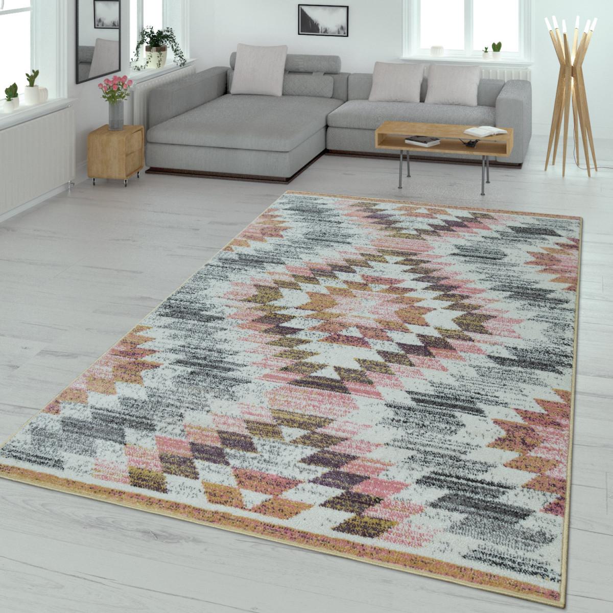 Wohnzimmerteppich Rautendesign Pastell Bunt von Wohnzimmer Teppich Bunt Photo