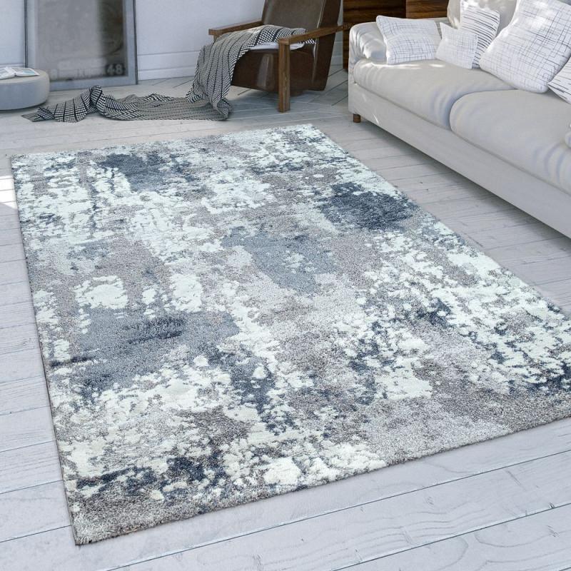 Wohnzimmerteppich Usedlook Grau Blau Weiß von Teppich Wohnzimmer Blau Photo