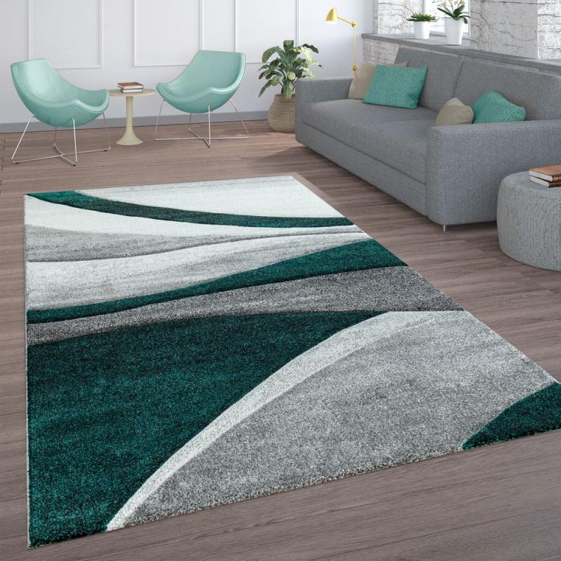 Wohnzimmerteppich Wellenlinien Grau Grün von Wohnzimmer Teppich Grün Bild