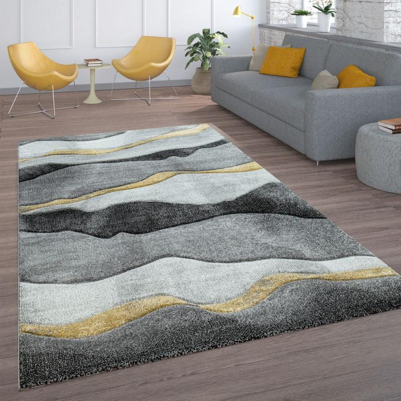 Wohnzimmerteppich Wellenlook Grau Gold von Teppich Grau Wohnzimmer Bild