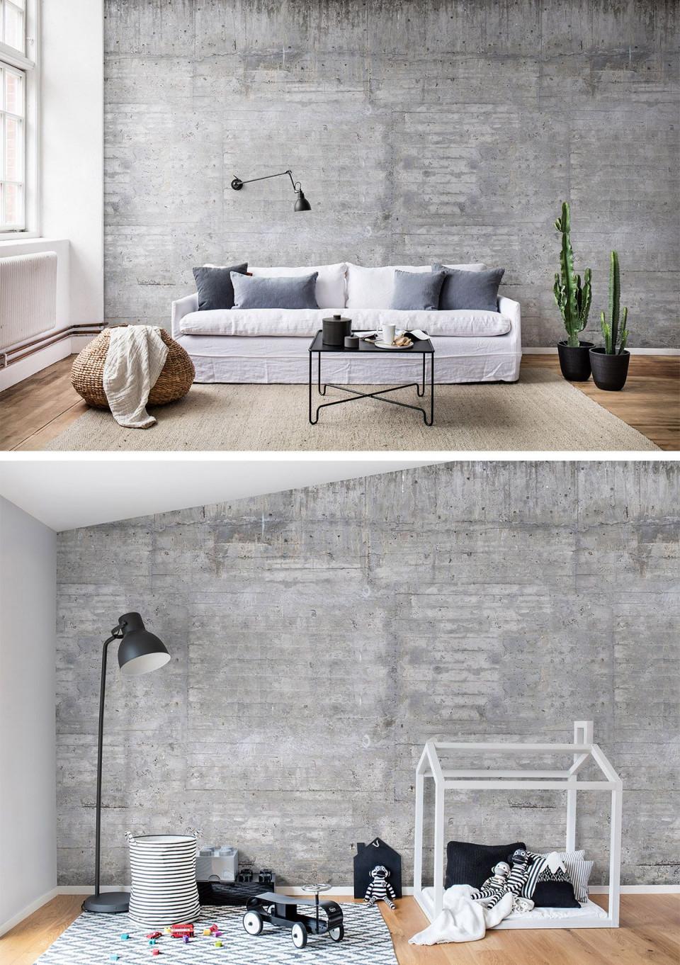 Wooden Concrete  Wandgestaltung Tapete Tapete Wohnzimmer von Designer Tapeten Wohnzimmer Bild