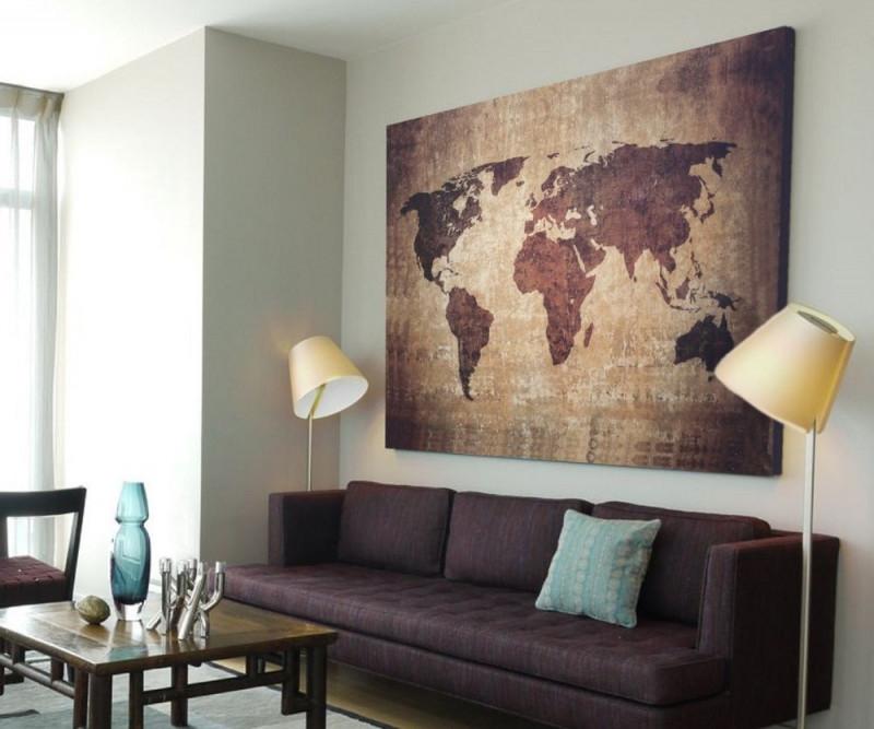 Xxl Bild 145X95X5 Loftdesign Leinwand Weltkarte Braun von Wohnzimmer Bilder Auf Leinwand Bild
