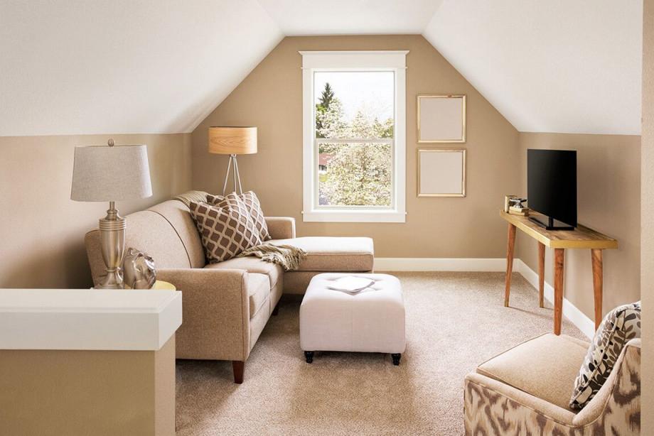 Zimmer Mit Dachschrägen Einrichten Beige Wände Und Weiße von Kleines Wohnzimmer Mit Dachschräge Einrichten Bild