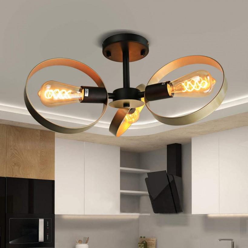 Zmh Vintage Deckenleuchte Wohnzimmer Deckenlampe 360°Drehbar 3Ringe E27 von Deckenleuchte Für Wohnzimmer Photo
